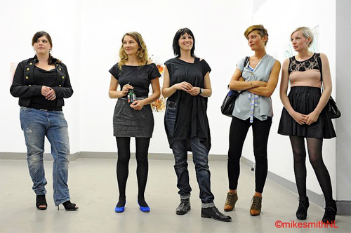 Artist Kim Engelen (second from the left) Photograph Mike Smith