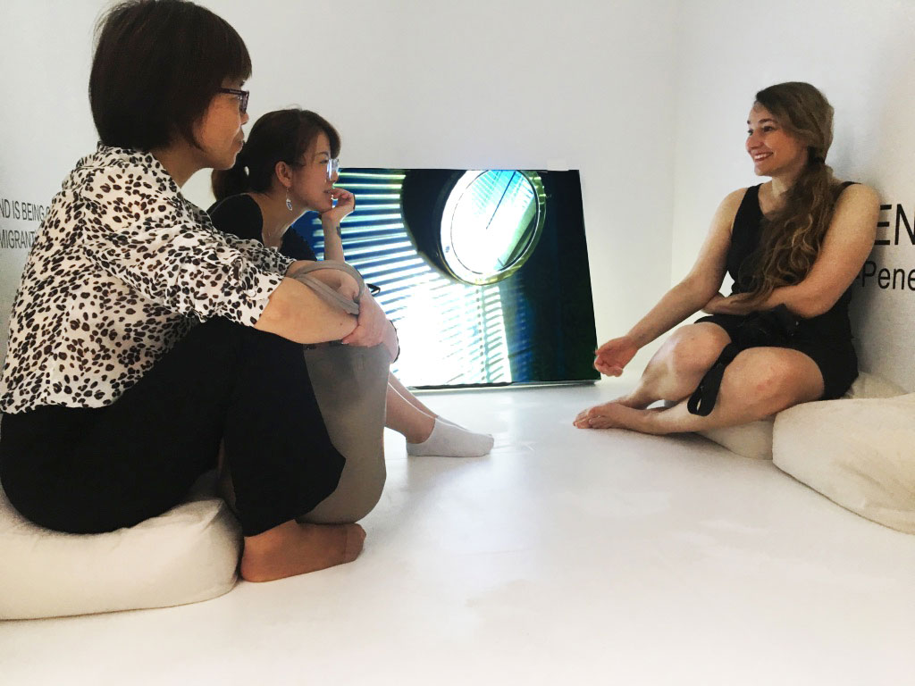 Visitors with artist Kim Engelen, Square Gallery, Shanghai, 2019