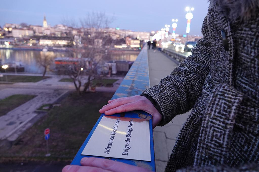 Kim Engelen, Belgrade Bridge-Performance, Engraved plate installed on the Branko's Bridge, Serbia, February 2020