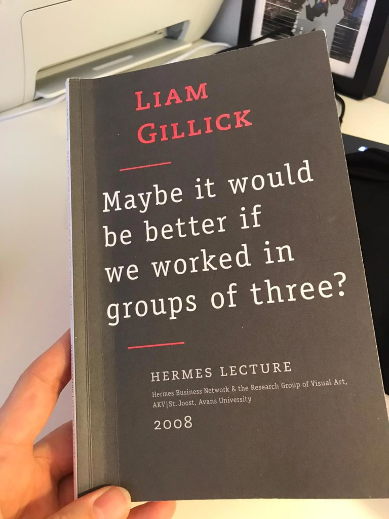 Cover Liam Gillick, Mabye it would be better if we worked in groups of three, 2008