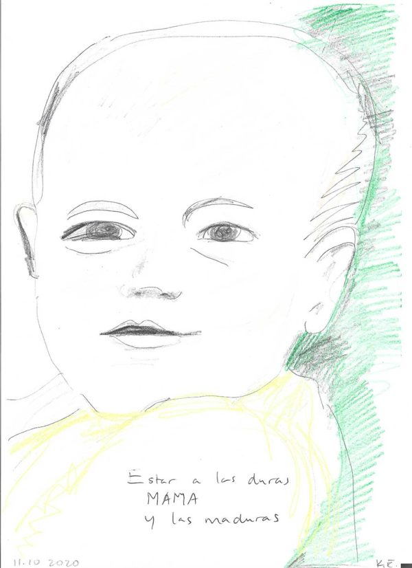 Kim Engelen, CONFESSION DRAWINGS: sketches on paper, The Kid in You, Estar a las Duras y a las Maduras No. 1 (Agustín), 30 x 21 cm (11,81 x 8,27 in), 10 October 2020