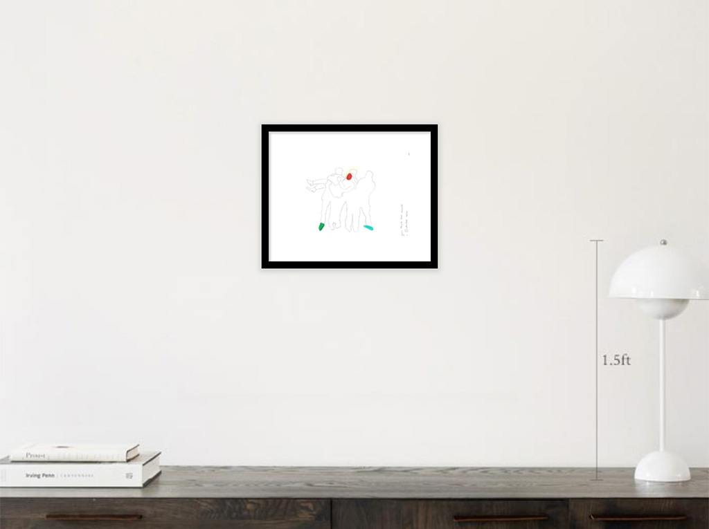 Kim Engelen, Example artwork with black frame in room, Confession Drawings, You Think Too Much, 2020