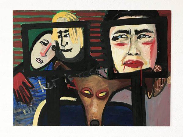 Kim Engelen, Ilse & Gerben, Mara, Oil on Chipboard, 1997