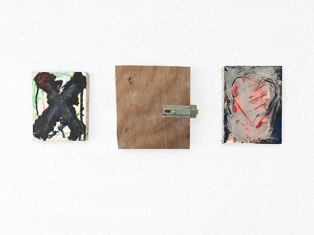 Kim Engelen, Little Cross, Heart, Friendship (All 3 paintings together), Overview-shot, 1997
