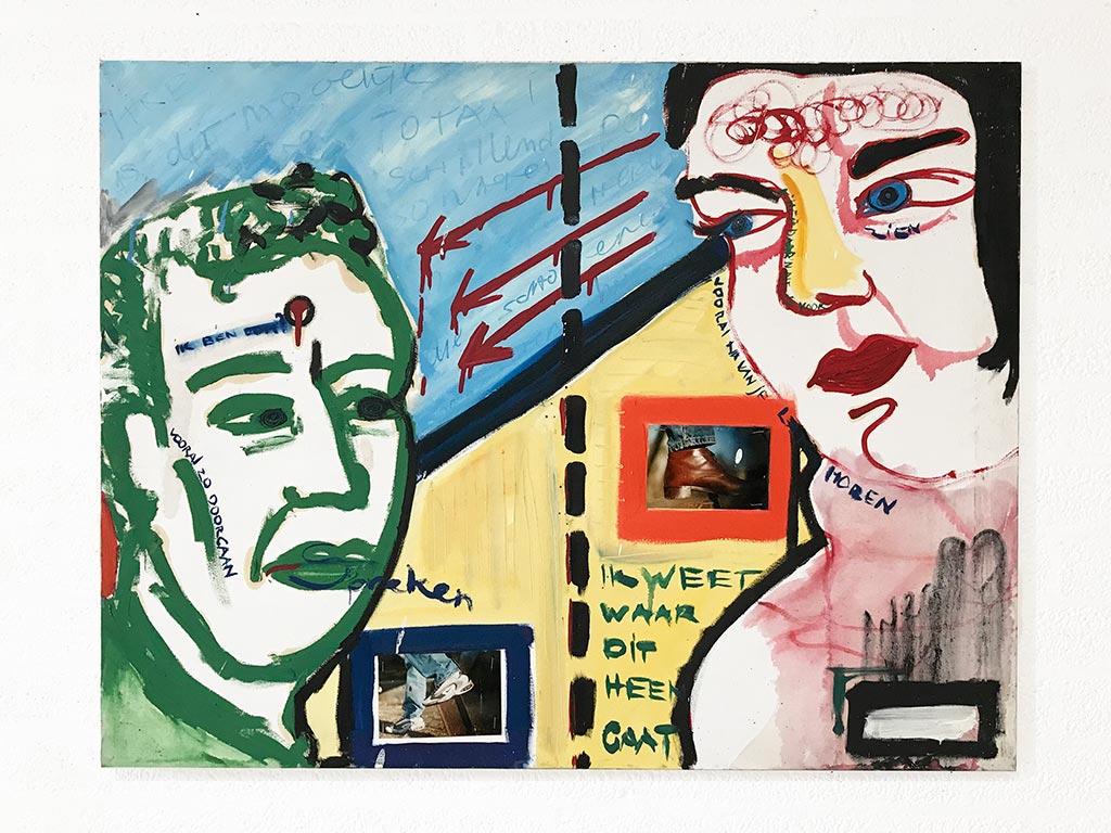 Kim Engelen, Mara & Patrick, Oil on Canvas + Photos, 1997
