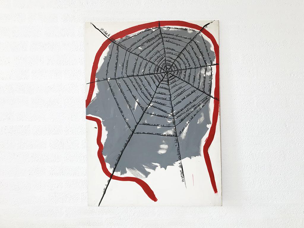 Kim Engelen, Networks (Grey), Acrylic on Canvas, Total-shot, 1997