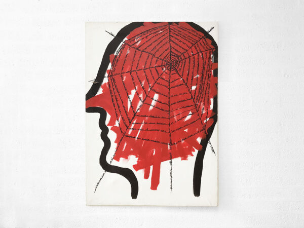 Kim Engelen, Networks (Red), Acrylic on Canvas, Total-shot, 1997