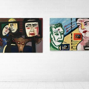 Kim Engelen, On the left Ilse & Gerben, Mara, Oil on Chipboard, On the right Mara & Patrick, Oil on Canvas & Photos, Overview shot, 1997