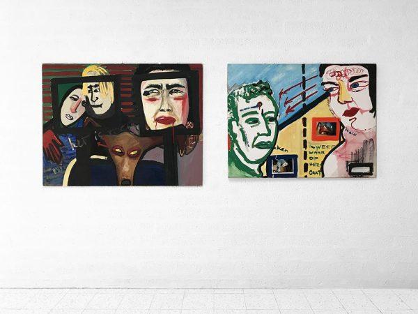 Kim Engelen, On the left Ilse & Gerben, Mara, Oil on Chipboard, On the right Mara & Patrick, Oil on Canvas & Photos, Overview shot, 1997