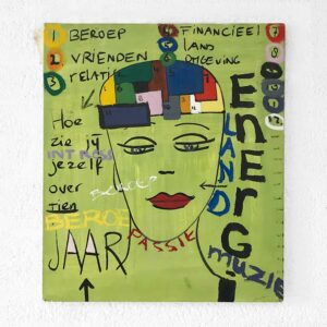 Kim Engelen, Over 10 Jaar (In 10 years), Oil on Canvas + Permanent Marker, Total-shot, 1997