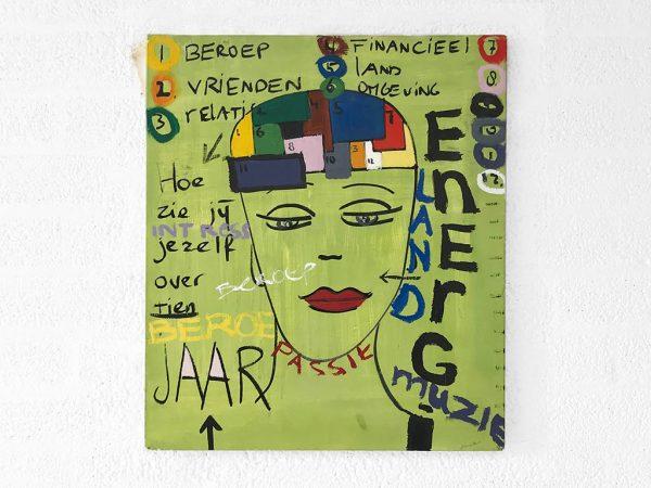 Kim Engelen, Over 10 Jaar (In 10 years), Oil on Canvas + Permanent Marker, Total-shot, 1997