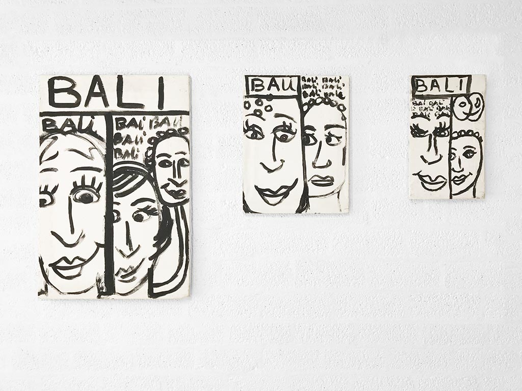 Kim Engelen, Series Bali-Bali-Bali (all-3-paintings-together), Acrylic on Canvas, Overview-shot, 1998