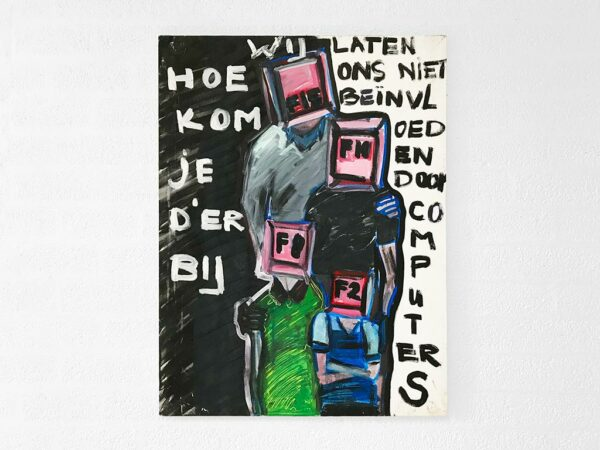 Kim Engelen, Computer Family, Oil on Regular Stretched Canvas, 1997