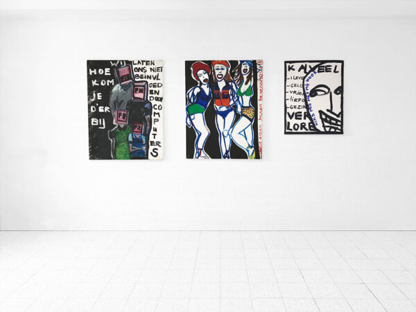 Kim Engelen, Smart Bundle of 3 Paintings, 2 on the left: Oil on Canvas, 1997, 1 on the right: Acrylic on Canvas, 1998
