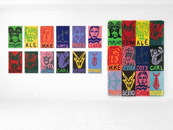 Kim Engelen, 12x Zodiac Paintings, 30x50 cm + Zodiac Carpet, 122x166 cm, 1998
