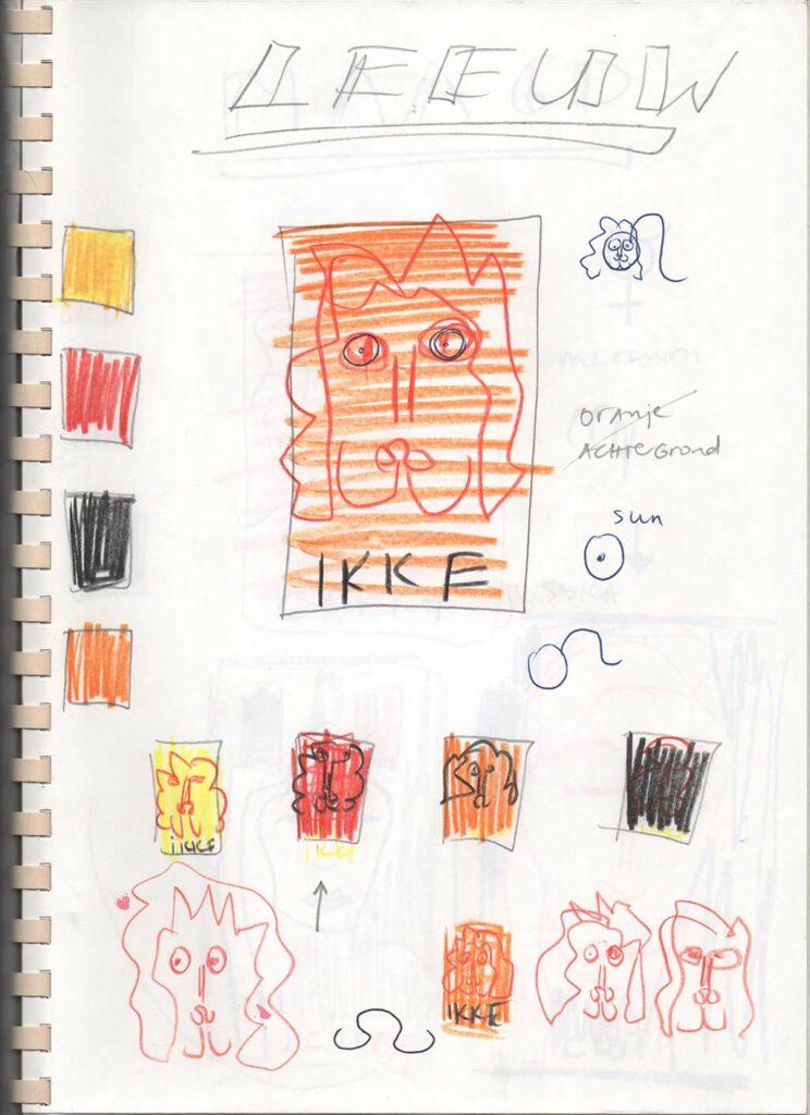 Kim Engelen, Zodiac Drawings Sketchbook, Page 19, Ikke Leeuw (Leo), 1998