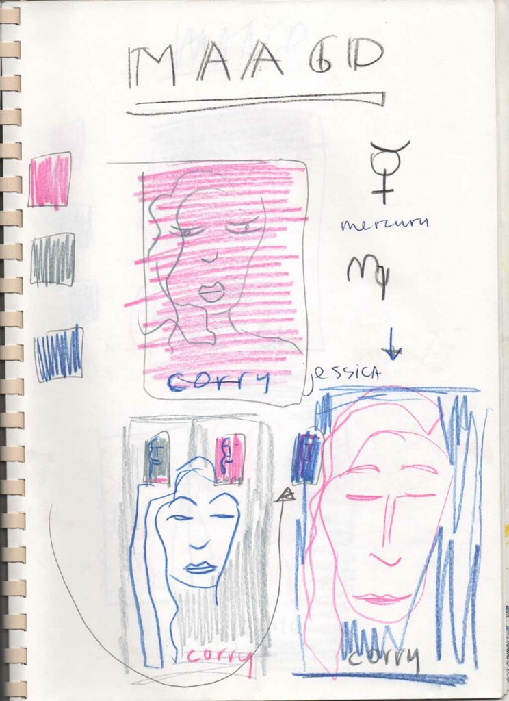 Kim Engelen, Zodiac Drawings Sketchbook, Page 20, Corry Maagd (Virgo), 1998