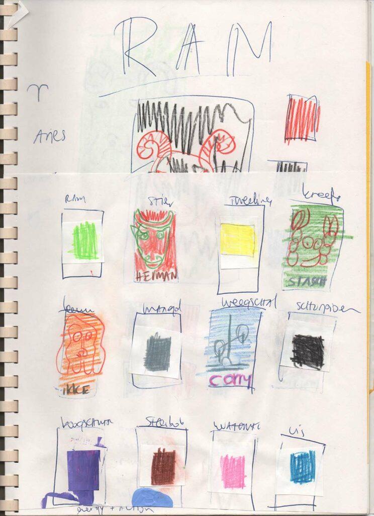 Kim Engelen, Zodiac Drawings Sketchbook, Page 8, Color Samples, 1998