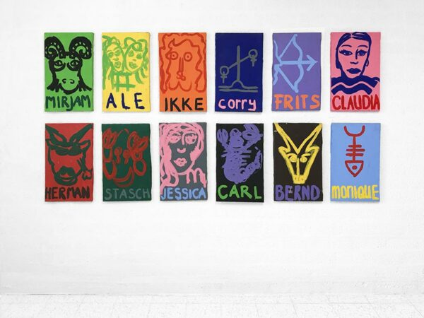 Kim Engelen, Zodiac Paintings, Acrylic on Canvas, Overview-shot, 1998