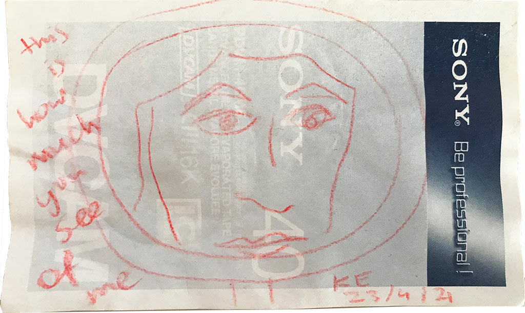 Kim Engelen, This is how Much you see of Me (series Red Election Color Pencil Self-Portrait Drawings), 2021