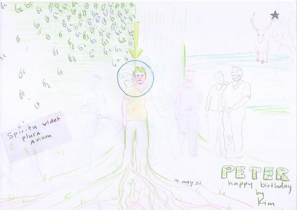 Kim Engelen, Drawing, Happy Birthday Peter, Peter Bielars, 62 Years, 14 May 2021