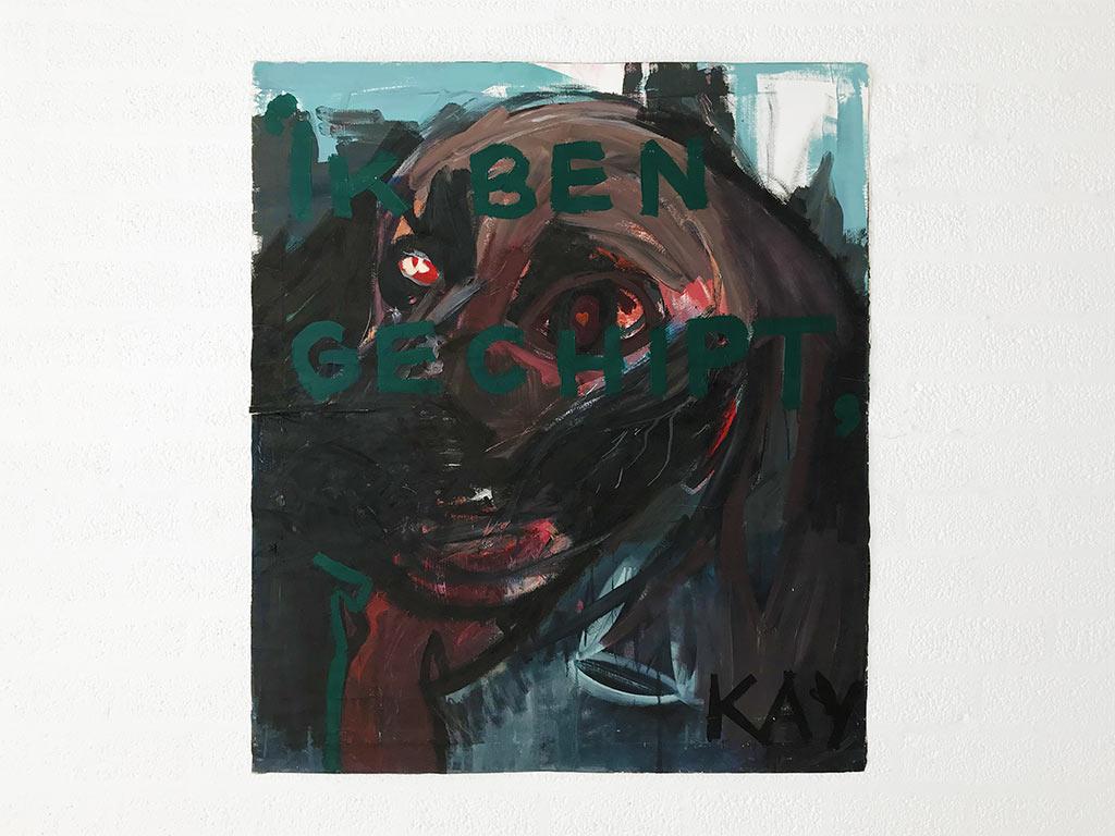Kim Engelen, Ik ben Gechipt (I am Chipped)—Kay, Oil on Canvas (unstretched), 1997