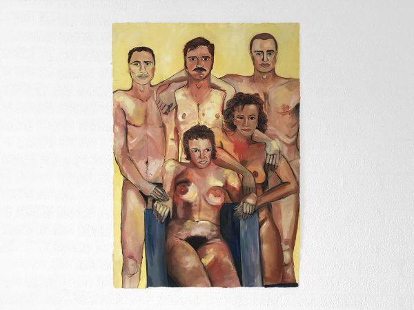 Kim Engelen, Naked Family Schakel, Oil on Canvas, 1996