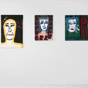 Kim Engelen, These People, Smart Bundle, Overview-shot, 3 Paintings: Party Lip, Acrylic, 1998. Superrr Kapper, Oil on Canvas, 1997, Super Kutwijf, Oil on Canvas, 1997