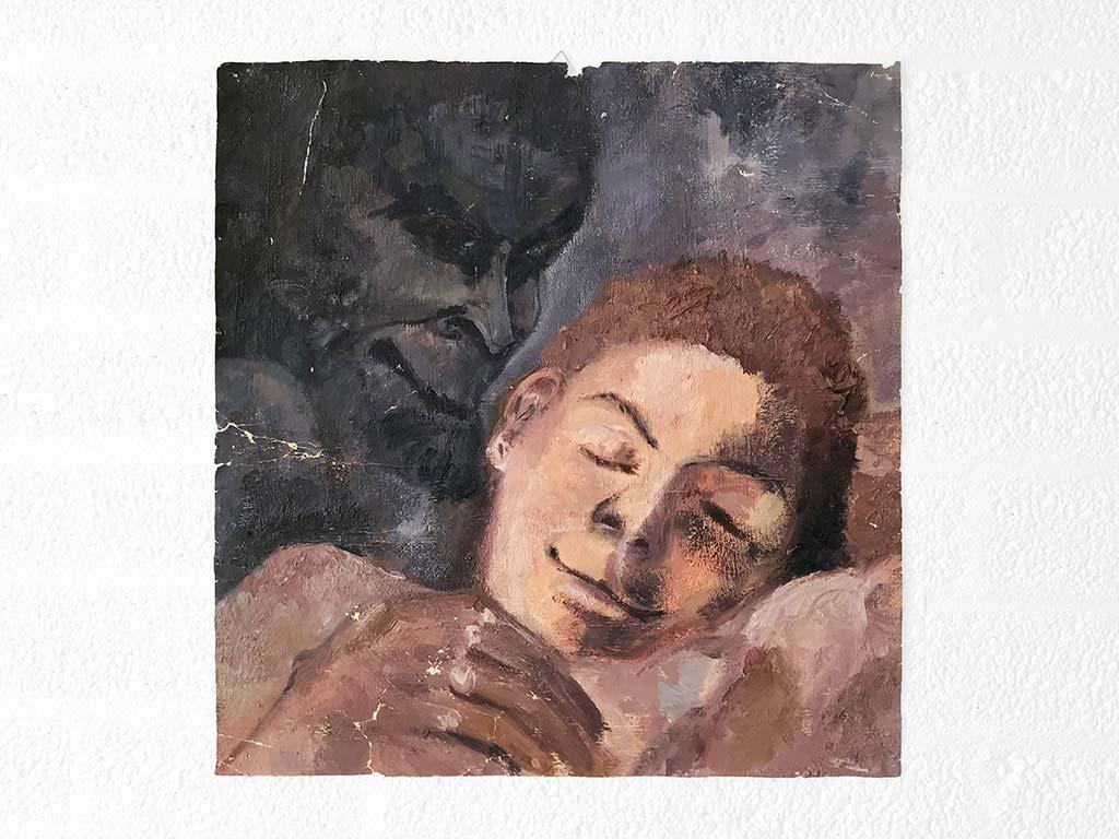 Kim Engelen, Dromende Jongen (Boy Dreaming), Oil on Paper, 1995