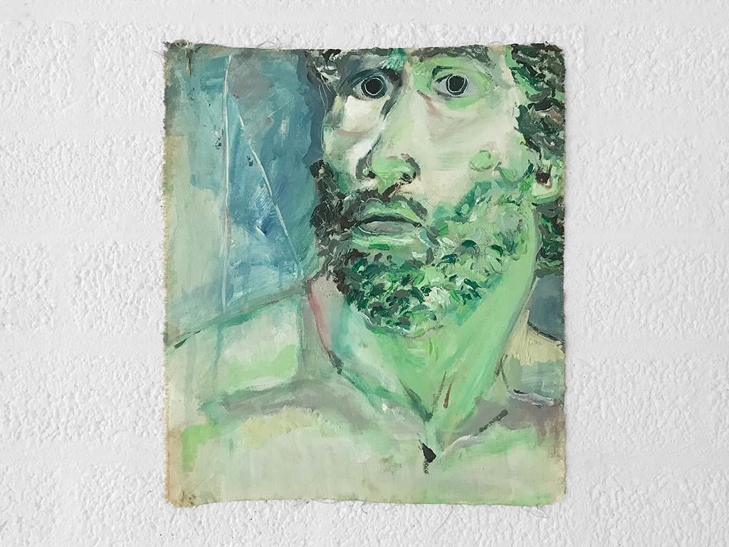 Kim Engelen, Greek Head (Green), Oil on Canvas, Unstretched, 1995