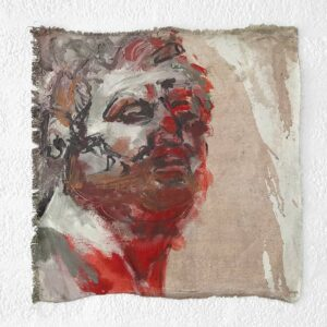 Kim Engelen, Greek Head (Red), Oil on Canvas, Unstretched, 1995