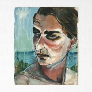 Kim Engelen, Ira aan het Water (Ira by the Water), Oil on Canvas (Unstretched), 1997