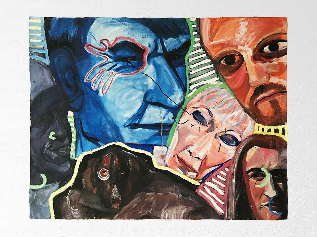 Kim Engelen, Koppen (Heads), Oil on Canvas (Unstretched), 1997