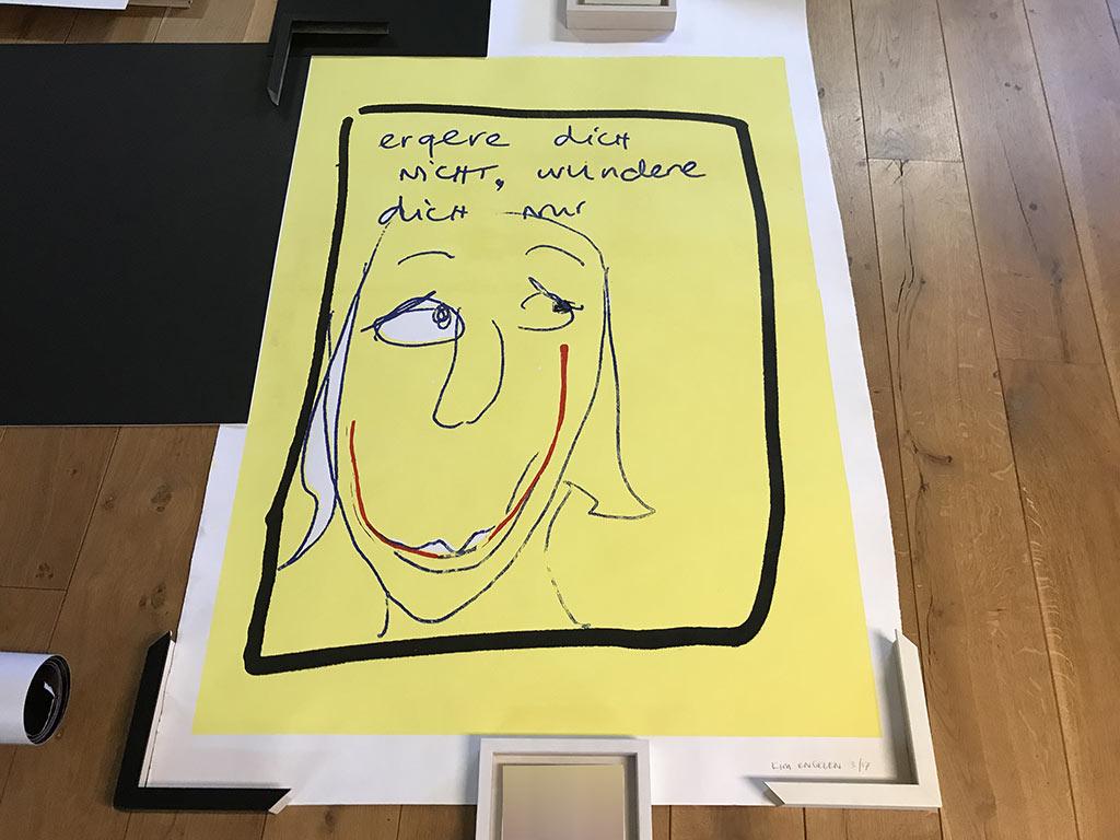 Kim Engelen, Step 3, Choose the Frame, Framing of the Silkscreen Artwork Ergere dicht nicht, wundere dich nur, 2021