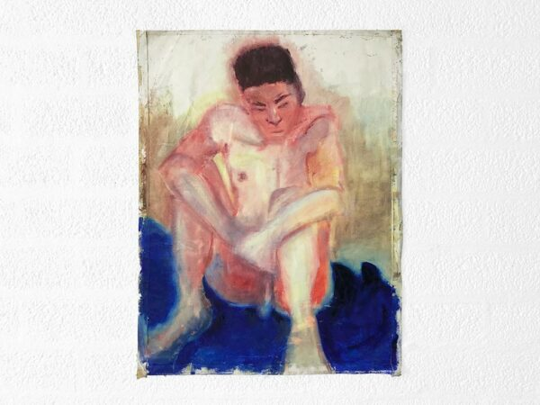Kim Engelen, Young Man by the Water, Oil on Paper, 1995