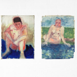 Kim Engelen, Young Man by the Water & Woman by the Water, Oil on Paper, 1995
