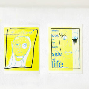 Kim Engelen, Left Side: Ik Zie Wel (English: I'll See), Right Side: Always Look on the Bright Side of Life, Computer-Drawings, Laminated Prints, 1999