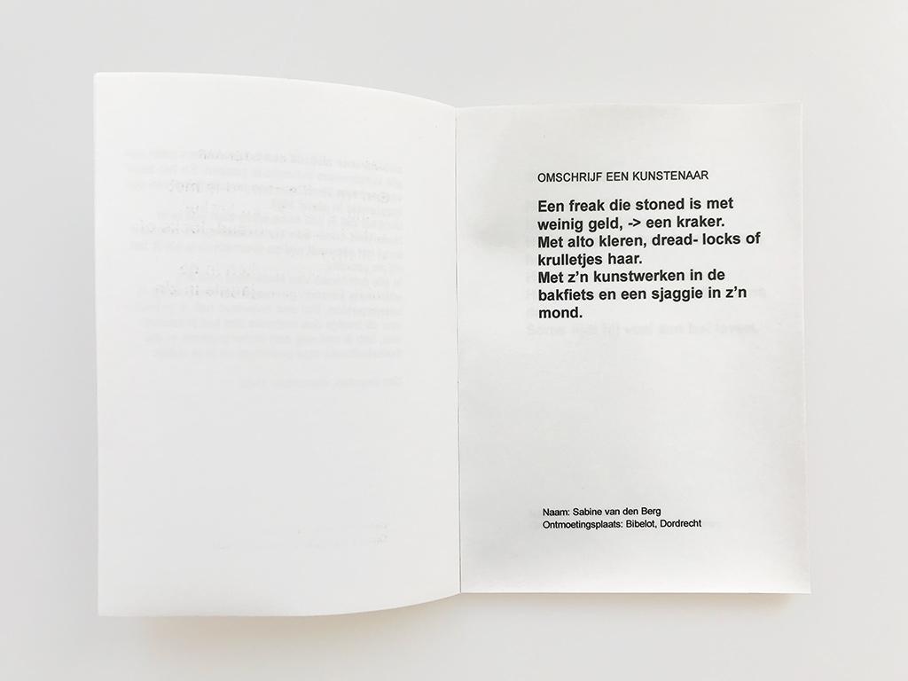 Kim Engelen, Omschrijf een Kunstenaar (English: Describe an Artist), Book 2, Statement 1, 1999