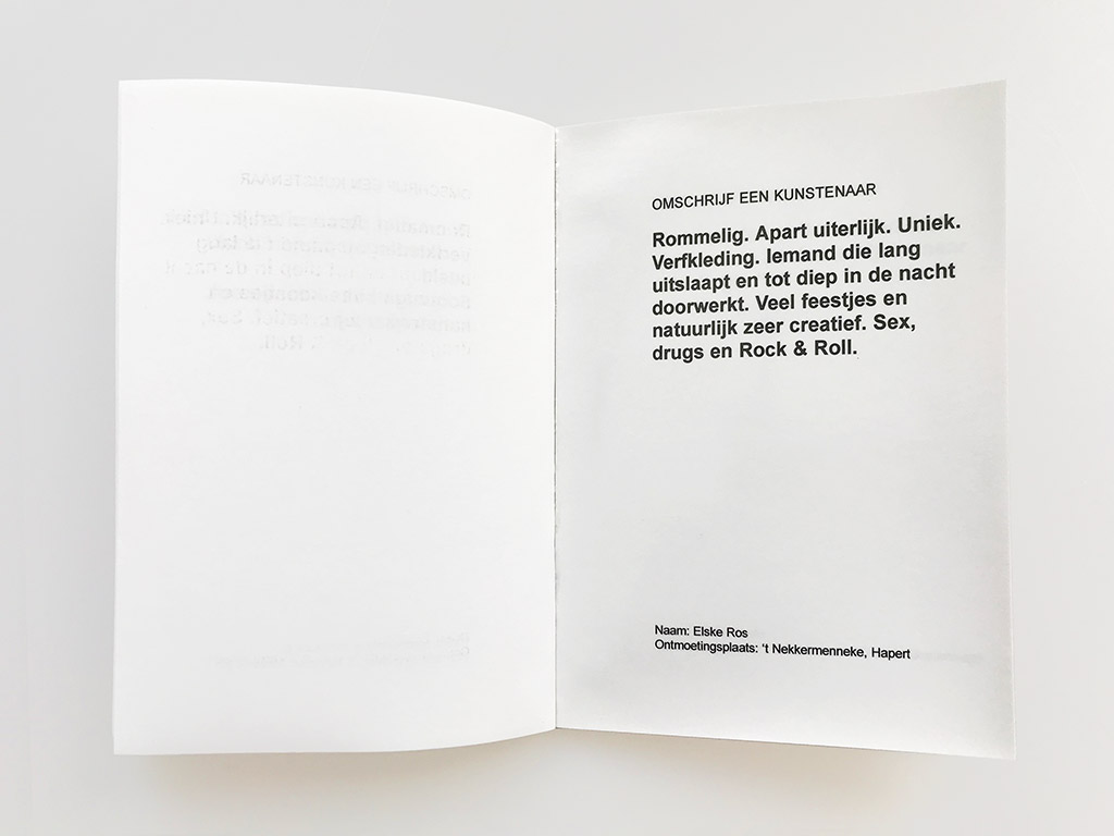 Kim Engelen, Omschrijf een Kunstenaar (English: Describe an Artist), Book 2, Statement 2, 1999