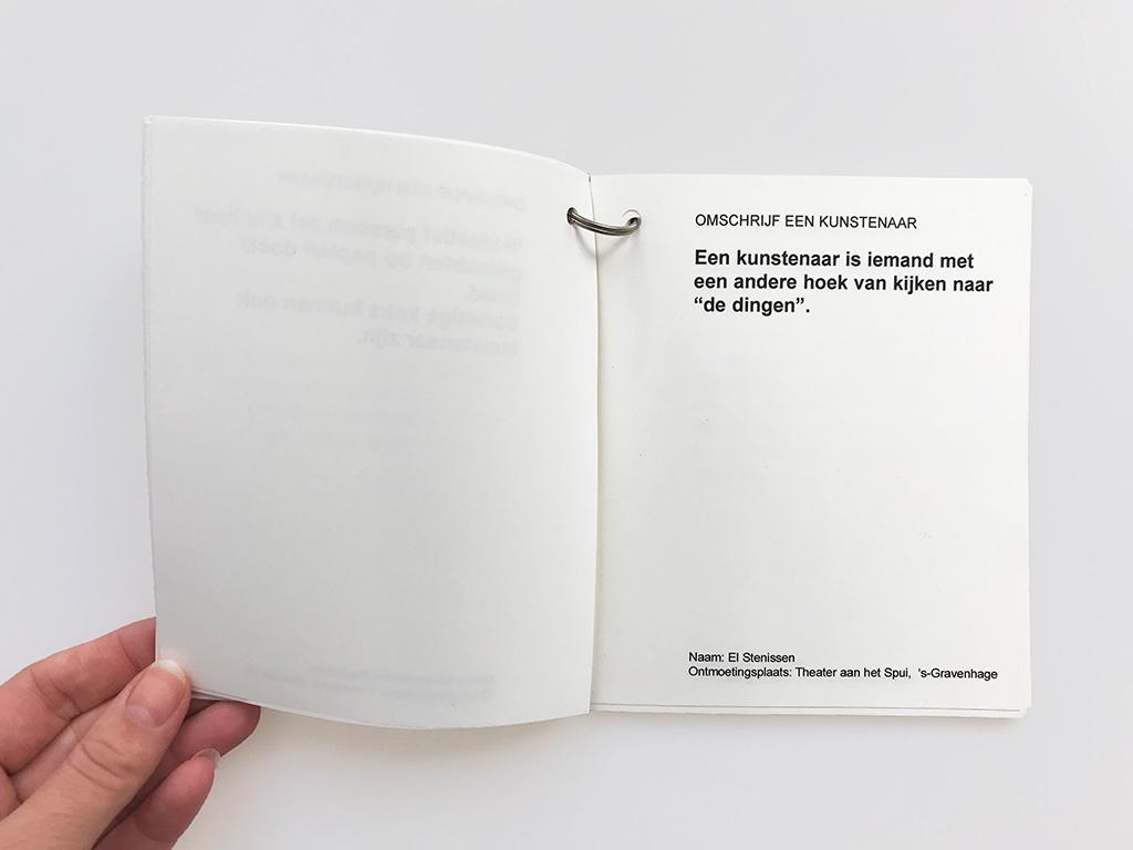 Kim Engelen, Omschrijf een Kunstenaar (English: Describe an Artist), Book 1 (Inkijkexemplaar), Statement 1, 1999