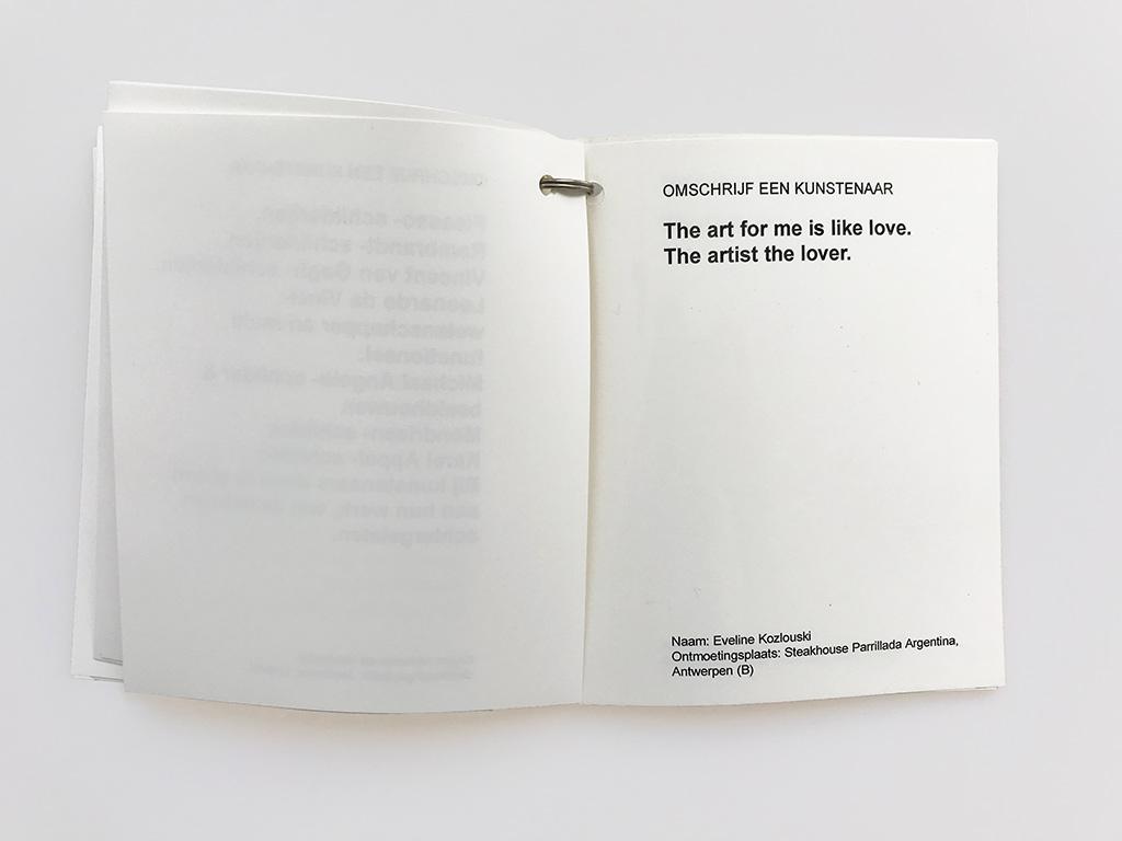 Kim Engelen, Omschrijf een Kunstenaar (English: Describe an Artist), Book 1 (Inkijkexemplaar), Statement 2, 1999