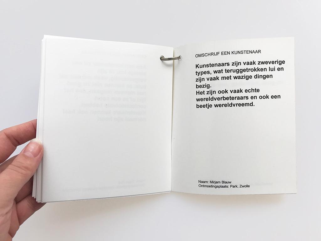 Kim Engelen, Omschrijf een Kunstenaar (English: Describe an Artist), Book 1 (Inkijkexemplaar), Statement 3, 1999