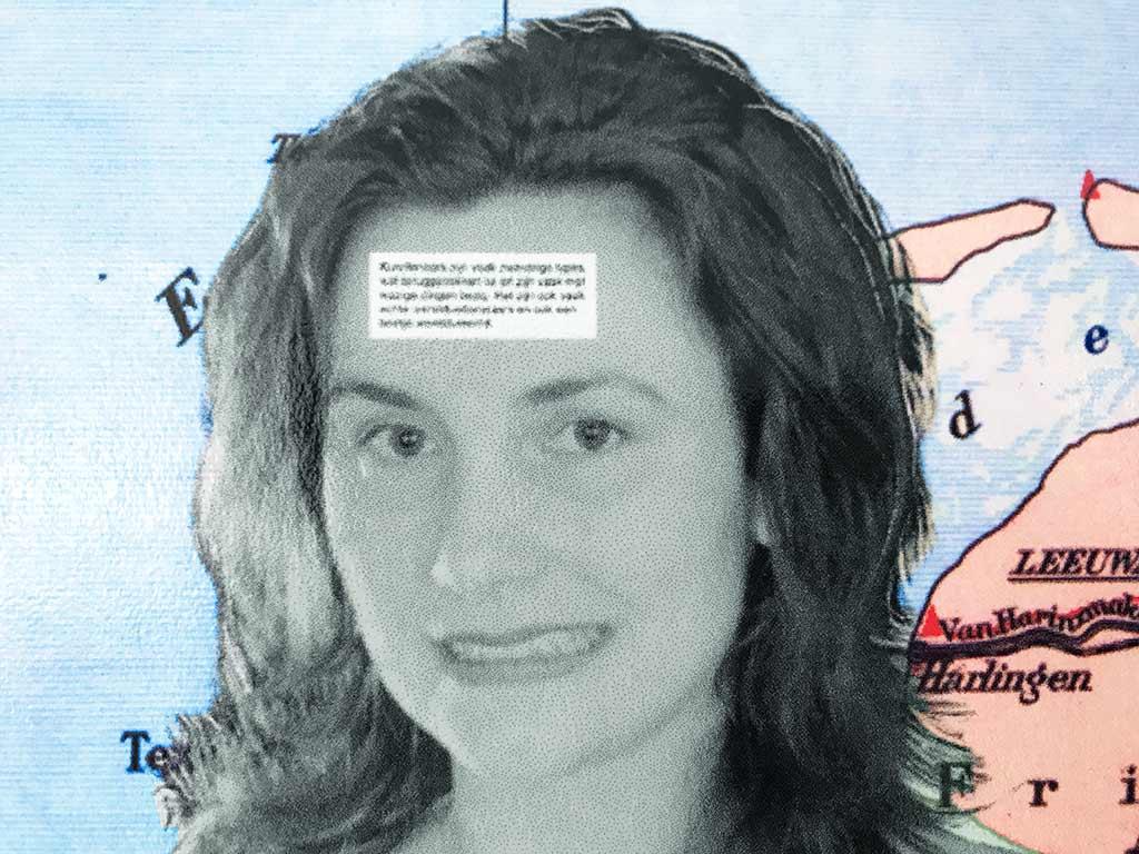 Kim Engelen, Omschrijf een Kunstenaar (English: Describe an Artist, Laminated Print, Detail 1, Face, 1999