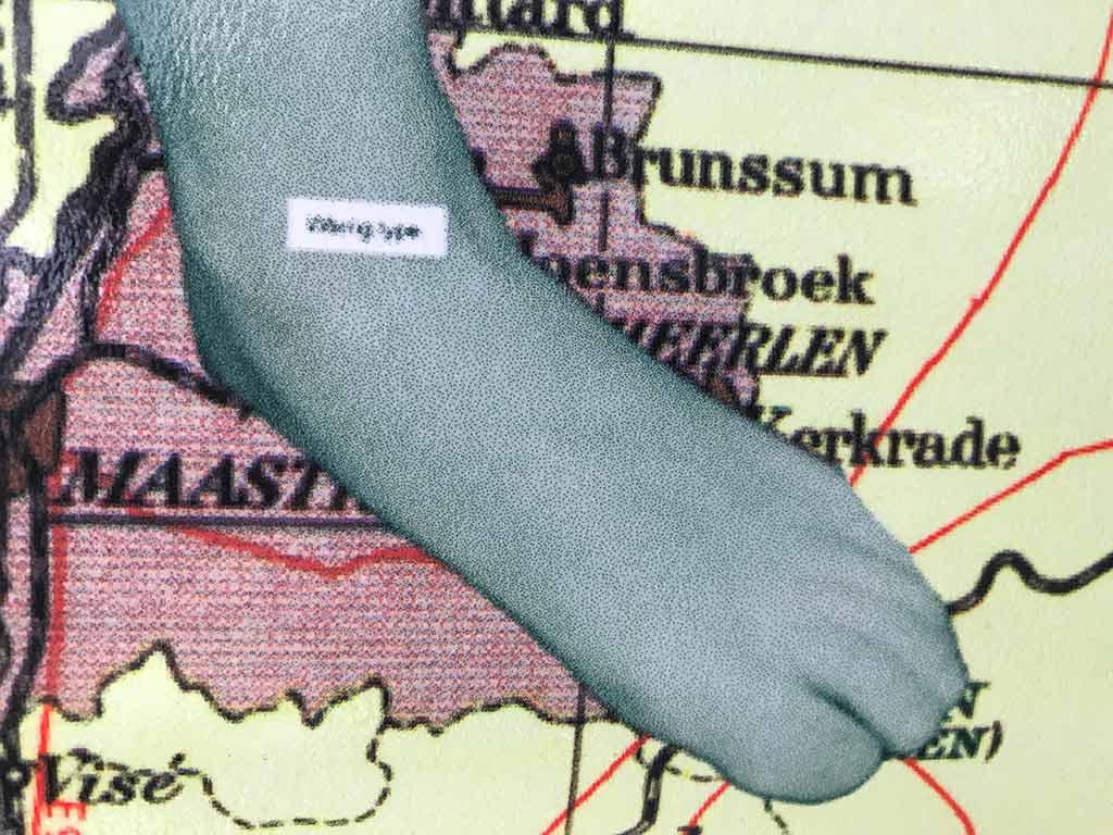 Kim Engelen, Omschrijf een Kunstenaar (English: Describe an Artist, Laminated Print, Detail 5, Left Foot, 1999