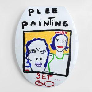 Kim Engelen Plee Painting (Privy Painting), Ready Set Go, Acrylics on Toilet Seat, 1998