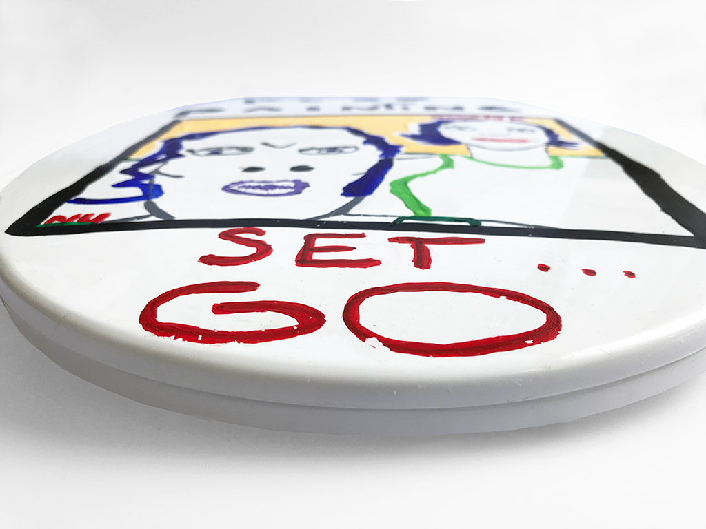 Kim Engelen Plee Painting (Privy Painting), Ready Set Go, Acrylics on Toilet Seat, Sideview Front, 1998