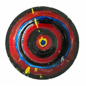 Kim Engelen, Dartboard-Yellow-Apple, Series Painted Plates, Earthenware, 1999