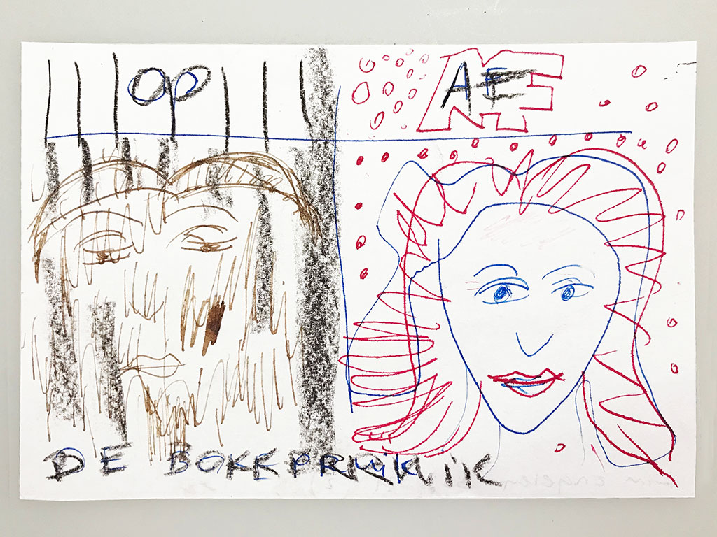 Kim Engelen, De Bokkepruik (The Bucks Wig) No.2, Drawing, Ecoline, Indian-ink, Charcoal, 2021