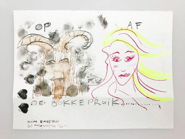 Kim Engelen, De Bokkepruik (The Bucks Wig) No.3, Drawing, Ecoline, Indian-ink, Charcoal, Yellow Marker, 2021