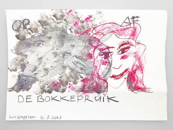 Kim Engelen, De Bokkepruik (The Bucks Wig) No.5, Drawing, Ecoline, Indian-ink, 2021
